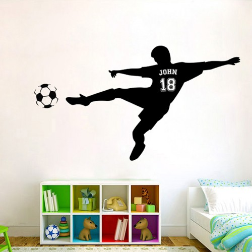Football Soccer Shooting  Personalized Wall Decal