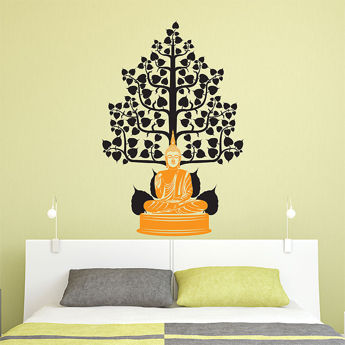 Beau Buddha Under The Bodhi Tree Vinyl Wall Art Decal