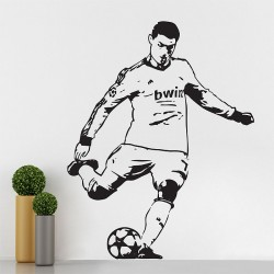 สติกเกอร์ติดผนัง Cristiano Ronaldo Football Soccer Players Free Kick Wall Sticker (WD-0701)