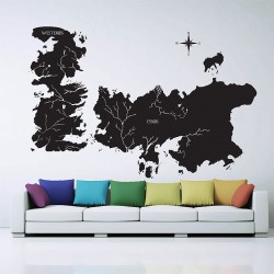 Game of Thrones World Map Vinyl Wall Art Decal (WD-0708)