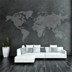 Dot World Map Vinyl Wall Art Decal (WD-0709)