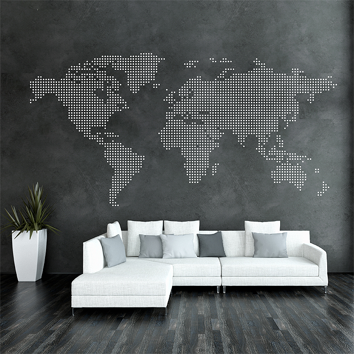 Dot world map vinyl wall art decal publicscrutiny Images