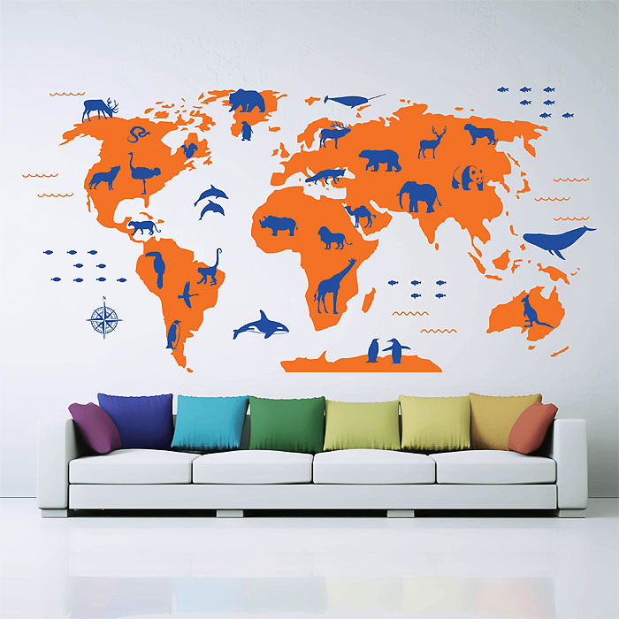Large animals world map vinyl wall art decal publicscrutiny Images