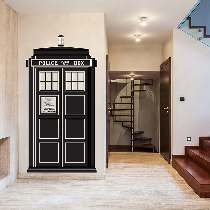 tardis doctor who vinyl wall art decal. Black Bedroom Furniture Sets. Home Design Ideas