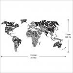 สติกเกอร์ติดผนัง แผนที่โลก Typography World Map Wall Sticker