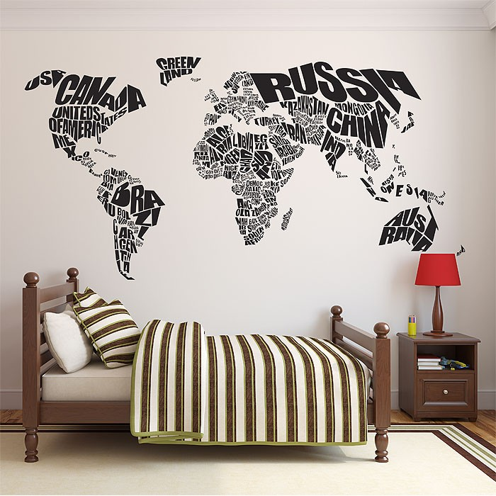 Typography world map vinyl wall art decal publicscrutiny Images