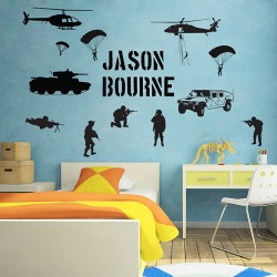 Personalized Soldier Army Battlefield Millitary Wall Decal  (WD-0744)