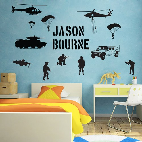 Personalized Name Soldier Army Battlefield Millitary Wall  Decal