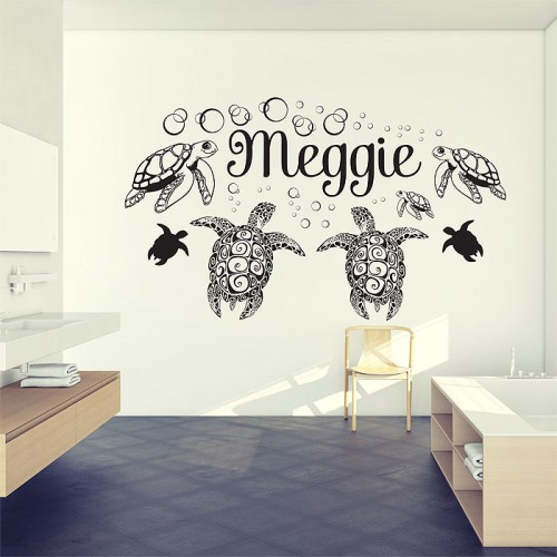 personalized sea turtle ocean vinyl wall art decal. Black Bedroom Furniture Sets. Home Design Ideas
