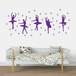 Ballet Dance Ballerinas Stars Vinyl Wall Art Decal (WD-0746B)
