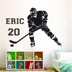 Hockey Player with Personalized Name and Number Vinyl Wall Art Decal (WD-0748)