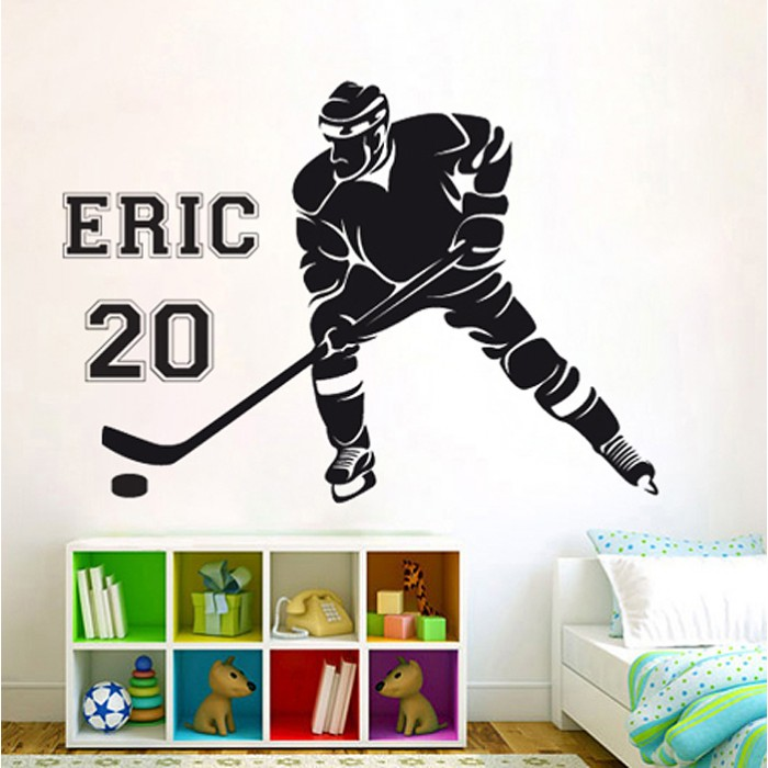Hockey Wall Decal with Player Last Name /& Number Kids Room Wall Decal Hockey Player Decal Personalized Wall Decal Ice Hockey Wall Decal