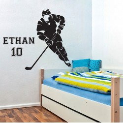 Ice Hockey Player with Personalized Name and Number Vinyl Wall Art Decal (WD-0749)