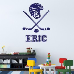 Ice Hockey with Personalized Name and Number Vinyl Wall Art Decal (WD-0759)