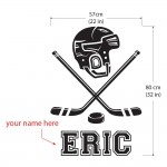 Ice Hockey Name and Number Custom Wall Decals