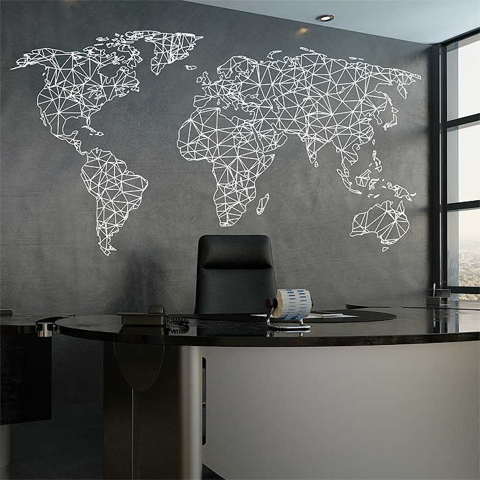 Polygonal geometrical world map vinyl wall art decal gumiabroncs