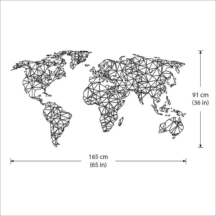 Polygon / Geometrische Weltkarte Wandaufkleber Wandtattoo (WD-0764)