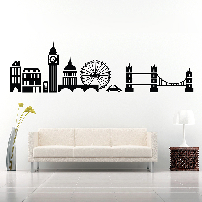 London City Skyline Vinyl Wall Art Decal