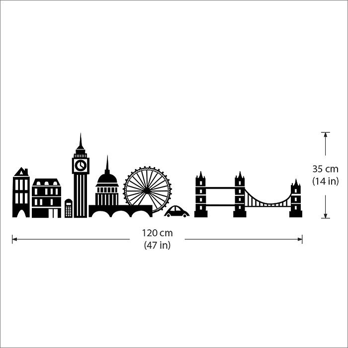 London City Skyline Vinyl Wall Art Decal