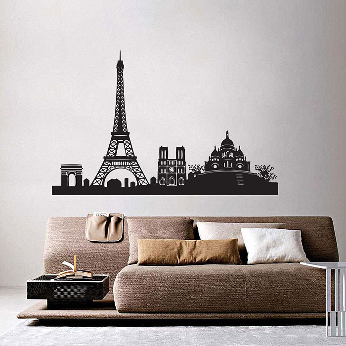 Paris City Skyline Vinyl Wall Art Decal Part 88