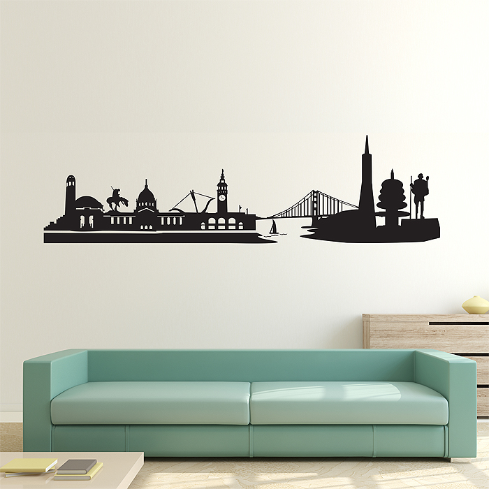 San Francisco City Skyline Vinyl Wall Art Decal