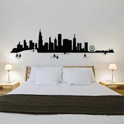 สติกเกอร์ติดผนัง ชิคาโก Chicago City Skyline Wall Sticker (WD-0776)
