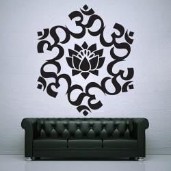 สติกเกอร์ติดผนัง OM UM Lotus Circle Buddhism Symbol Wall Sticker (WD-0777)