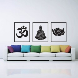 Om Ohm Buddha Lotus Buddhism Symbol Vinyl Wall Art Decal (WD-0780)