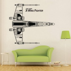 สติกเกอร์ติดผนัง X-Wing Fighter Top View Star Wars Wall Sticker (WD-0785)