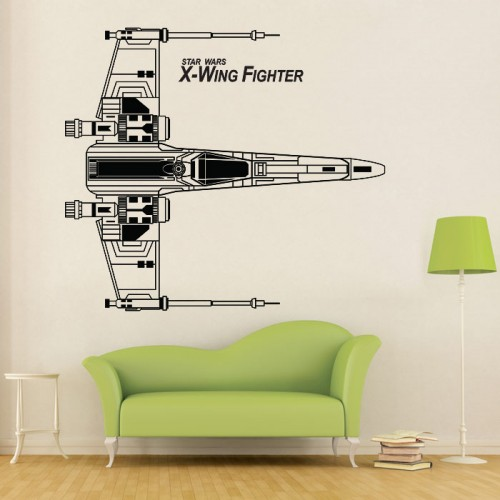สติกเกอร์ติดผนัง X-Wing Fighter Top View Star Wars Wall Sticker