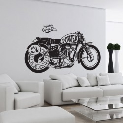 Classic Motorcycle Power Vinyl Wall Art Decal (WD-0799)