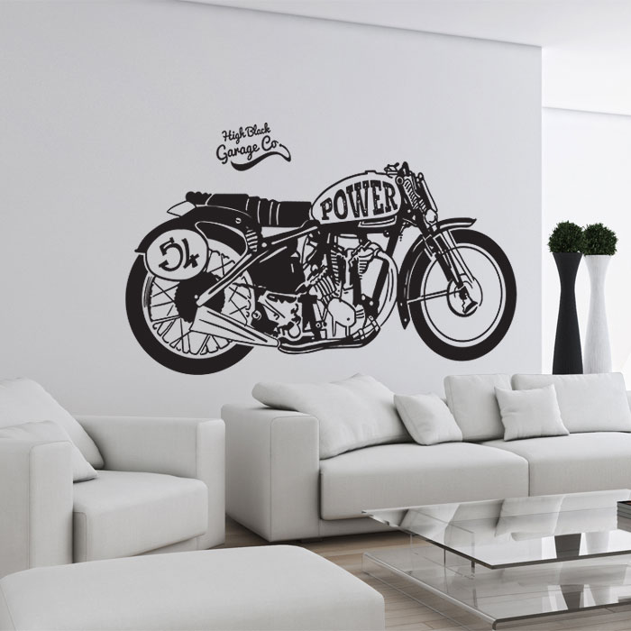 retro motorrad power wandaufkleber wandtattoo. Black Bedroom Furniture Sets. Home Design Ideas
