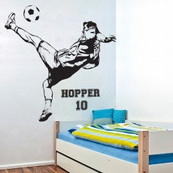 Football Soccer back kick with Personalized Name & Number Wall Decal (WD-0800)
