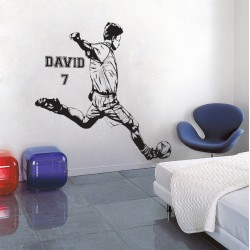 Football Soccer Player with Personalized Name & Number Wall Decal (WD-0801)