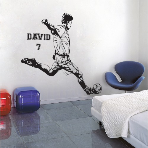 Football Soccer Shooting with Personalized Name and Number  Vinyl Wall Art Decal