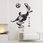 Personalized Name Football Soccer Player shoot Wall Sticker