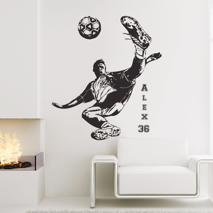 Personalized Name Football Soccer Player shoot Wall Sticker & Football Soccer Shooting with Personalized Name and Number Wall Decal