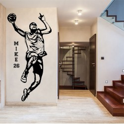 Basketball Player with Personalized Name & Number Wall Decal (WD-0804)