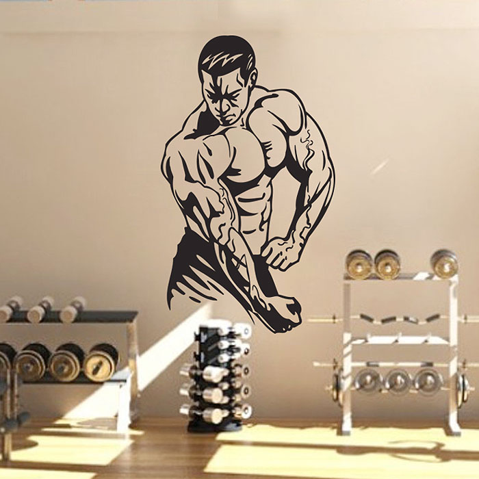 bodybuilding vinyl wall art decal. Black Bedroom Furniture Sets. Home Design Ideas