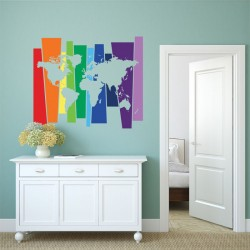 Rainbow World Map Vinyl Wall Art Decal (WD-0815)