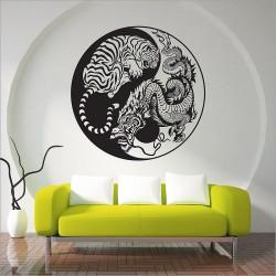 Dragon and Tiger Yin Yang Vinyl Wall Art Decal (WD-0824)