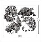 สติกเกอร์ติดผนัง สัตว์เทพ 4 ทิศ เสือ มังกร หง เต่า Wall Sticker