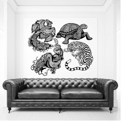 Four Celestial Feng Shui Animals Vinyl Wall Art Decal (WD-0825)