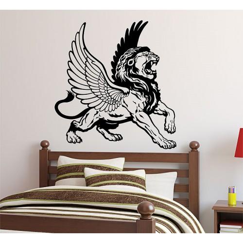 สติกเกอร์ติดผนังสิงโตมีปีก Roaring Winged Lion Wall Sticker