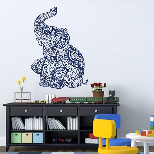 สติกเกอร์ติดผนังช้างอินเดีย Indian Elephant Wall Sticker