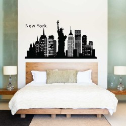 สติกเกอร์ติดผนัง เมืองนิวยอร์ก New York Skyline city Silhouette Wall Sticker (WD-0833)