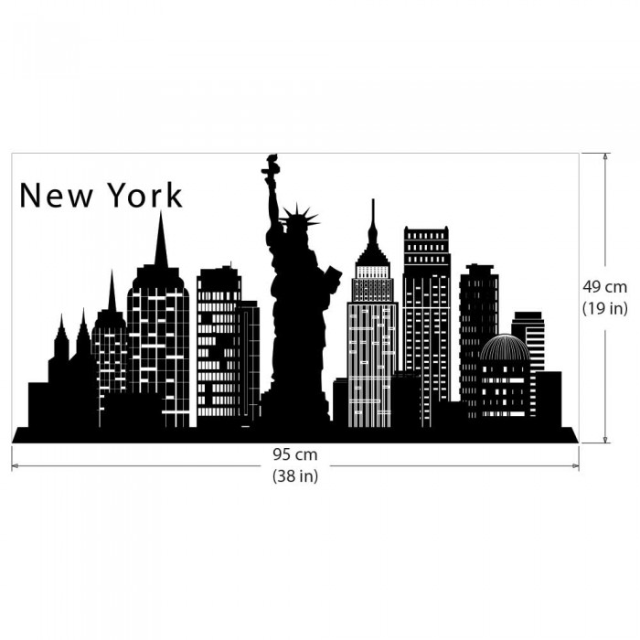 ... New York Skyline City Silhouette Vinyl Wall Art Decal
