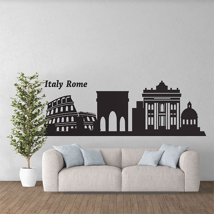 Italien rome city skyline silhouette wandaufkleber wandtattoo for Wall stickers roma