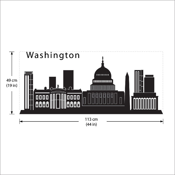 DC City Skyline Silhouette Vinyl Wall Art Decal - Wall decals city