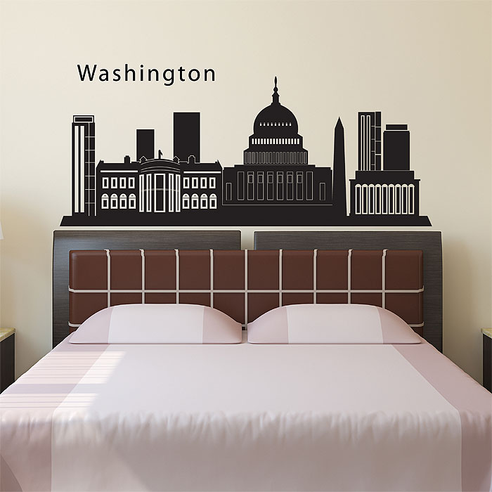 Washington Dc Wall Art dc city skyline silhouette vinyl wall art decal